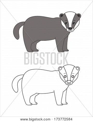 Badger for coloring book.Isolated on white background.Line art design.Vector illustration