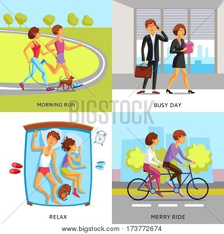 Lifestyle people 2x2 compositions presenting couple in morning run busy day relax and merry ride cartoon vector illustration