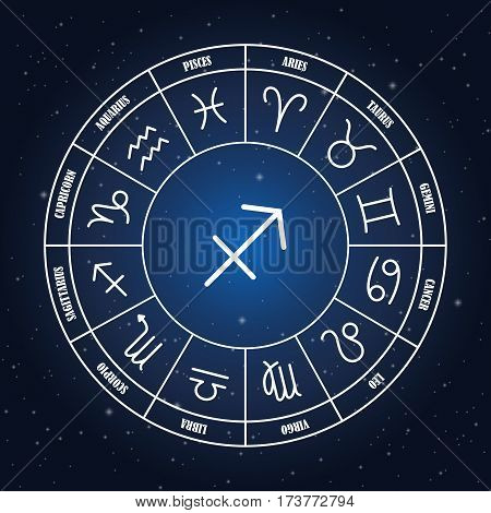 Sagittarius astrology sing in zodiac circle on the background of starry sky set of astrology sings