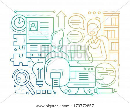 Job interview - vector modern simple line flat design city composition with recruiter and candidate - color gradient