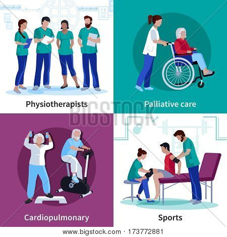 Physiotherapy cardio rehabilitation exercises and palliative care equipment 4 flat icons square banner isolated vector illustration