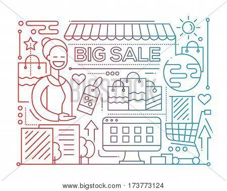 Big sale - vector modern plain line flat design city composition with a storefront and smiling shop assistant - color gradient