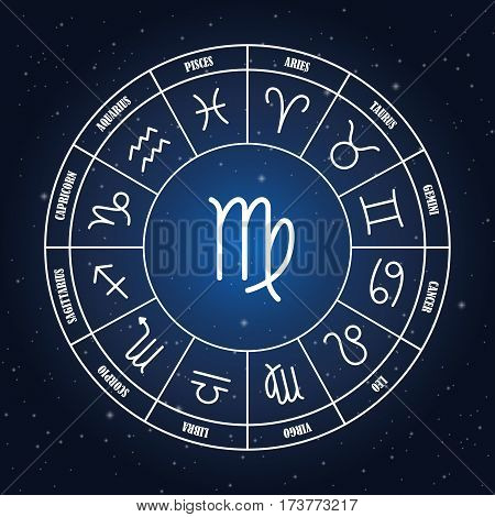 Scorpio astrology sing in zodiac circle on the background of starry sky set of astrology sings