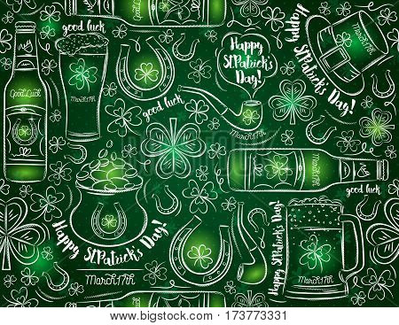 Green background for St. Patrick's Day with beer bottle mug horseshoe pipe hat and shamrock vector illustration.