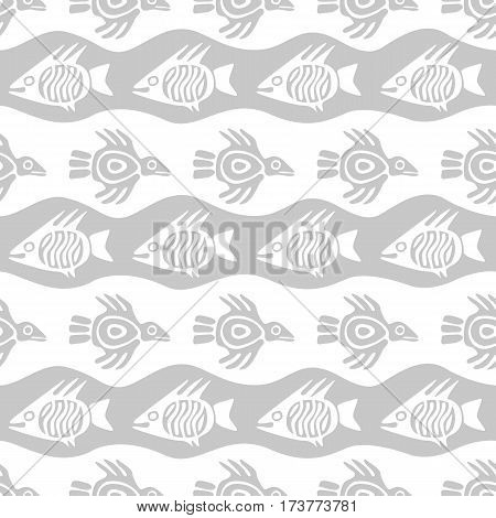 Seamless grayscale pattern with fish and bird stylized primitive art.