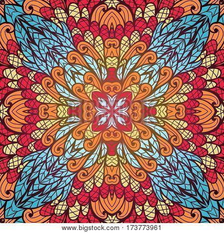 Hand drawn ethnic floral orange and blue ornamental pattern