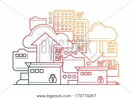 Files archiving, backup - vector modern flat line design illustration with archivation process, boxes, clouds, arrows - color gradient