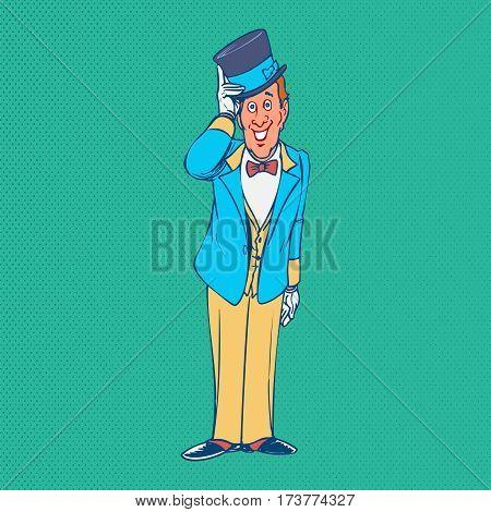 Gentleman funny cartoon character. Stylish background retro cartoon design vector illustration.