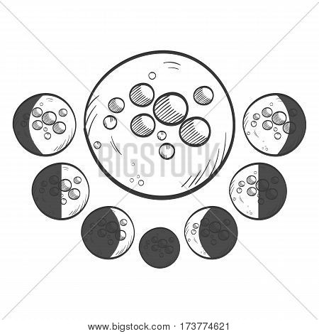 Phases moon hand drawn weather icon - vector illustration