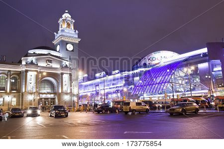 MOSCOW - FEBRAURY 20 2015: Kievsky railway station built in 1918 year and trading centre European built in 2006 year.