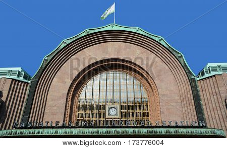 HELSINKI FINLAND SEPTEMBER 25 2015: Helsinki Central railway station is a widely recognised landmark in Kluuvi, Helsinki, Finland, and the focal point of public transport in the Greater Helsinki area.