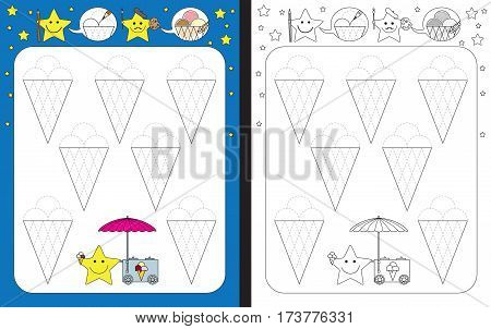Preschool worksheet for practicing fine motor skills - tracing dashed lines - finishing the ice creams