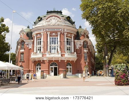 VARNA, BULGARIA - AUGST 14, 2015: building of State Opera and Dramatic theater of town Varna, works from 1947 year.