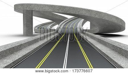 Highway junction overpass. 3D Illustration high resolution.