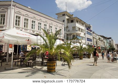 VARNA BULGARIA - AUGUST 14 2015: boulevard knyaz prince Boris I street in summer main pedestrian street in touristic and historical centre of the town.