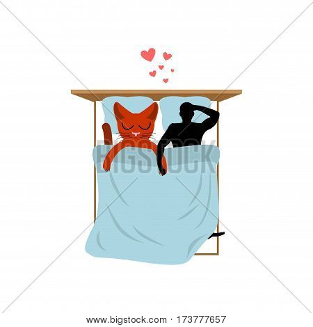 Cat Lover In Bed. My Kitty. Lovers In Bedroom. Pet And Guy. Romantic Date