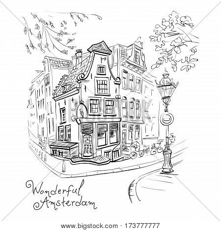 Vector black and white hand drawing, city view of Amsterdam typical house with stork and lantern, Holland, Netherlands.