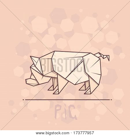 Vector simple illustration paper origami of pig.