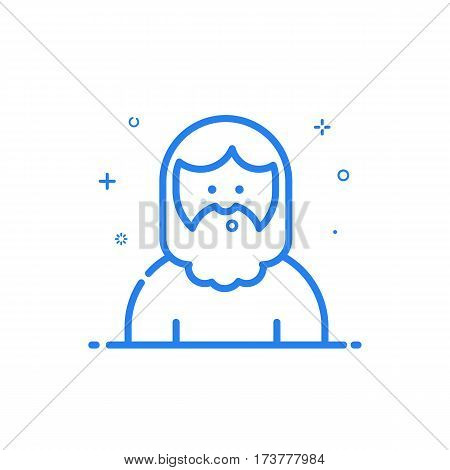 illustration of blue icon in flat line style. Linear cute and whistling hipster man with beard. Graphic design concept of avatar Outline isolated object.
