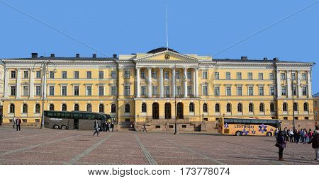 HELSINKI FINLAND 09 25 2015  Government Palace in Helsinki, is the executive office building of the Government of Finland. It is located next to the Senate Square in central
