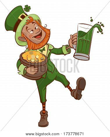 Drunk fun Patrick holds pot of gold and glass of green beer. Isolated on white vector cartoon illustration