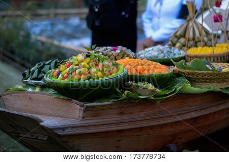 Dessert sweetmeat Thailand Savory and delicious background