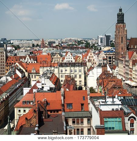 Aerial view of old town and St. Elizabeth's Church from St. Mary Magdalene Church in Wroclaw Poland