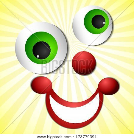 Postcard on 1 April Fool's day. Smiling face of joker on light striped yellow background. Vector illustration