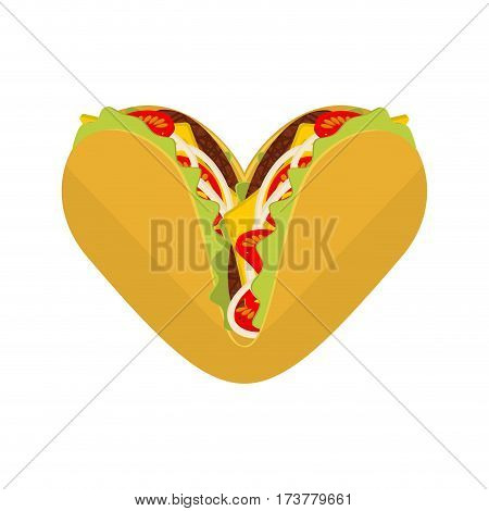 Love Tacos. Symbol Lover Mexican Fast Food. Taco Heart. Traditional Mexico Meal