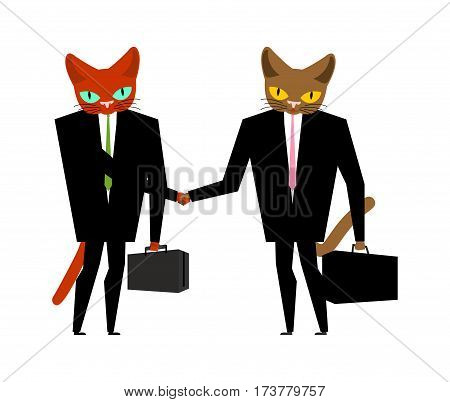 Cats Businessmen Contract. Handshake Cat Boss. Animal Manager. Pet In Costume With Case And Tie