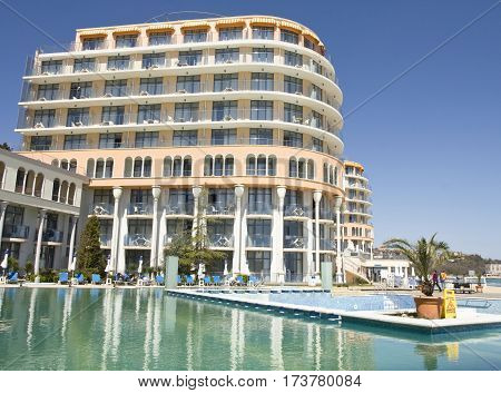 SAINT CONSTANTINE AND HELENA BULGARIA - APRIL 10 2015: hotel Azalia . Saint Constantine and Helena is the oldest first sea resort of Bulgaria exists from 19 century.