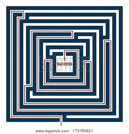 Vector illustration of square maze with the solution as a red line to success. Rectangle labyrinth isolated on white background.