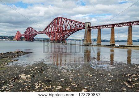 Firth of Forth rail bridge in Edinburgh, Scotland UK