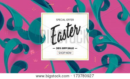 Festive frame decorated with abstract floral elements. Limited offer 30 percent off. Special design for Mother's day, 8 March and Easter. Vector card with purple background