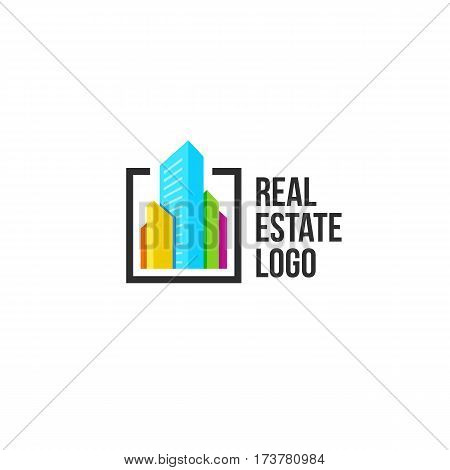 Isolated colorful real estate agency logo, house logotype on white, home concept icon, skyscrapers vector illustration