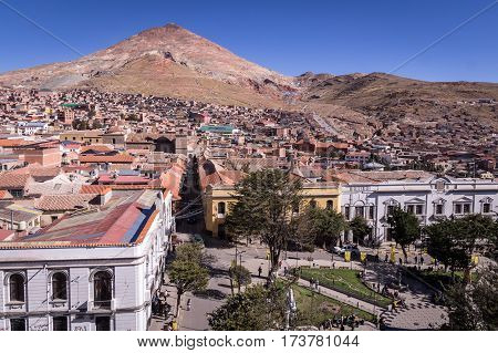 View of the historic center of Potosi, Bolivia overlooking the Plaza 10 de Noviembre