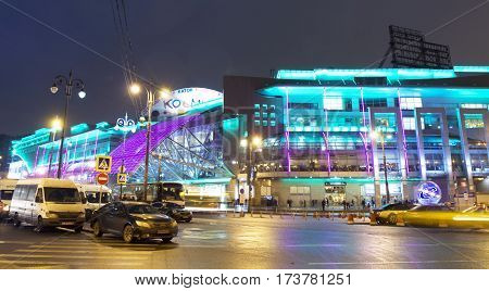 MOSCOW - FEBRAURY 20, 2014: trading centre European at night, has been built in 2006 year.