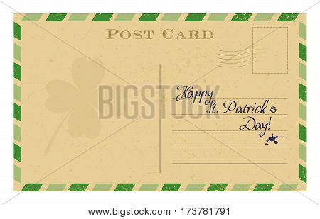 Old postcard with shamrock and green frame. St. Patrick's greeting card template. Grunge paper vintage post card. Isolated on white vector illustration.