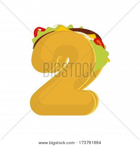 Number 2 Tacos. Mexican Fast Food Font Two. Taco Alphabet Symbol. Mexico Meal Abc