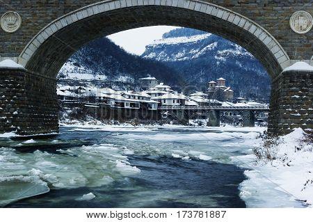 Winter townscape, Veliko Tarnovo, Bulgaria, Eastern Europe