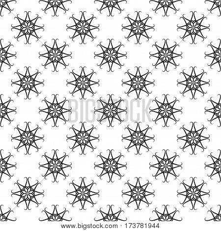 Seamless retro floral baroque black and white ornament