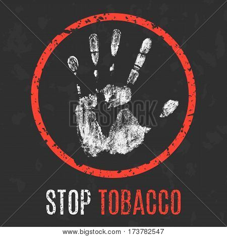 Conceptual vector illustration. Global problems of humanity. Stop tobacco.
