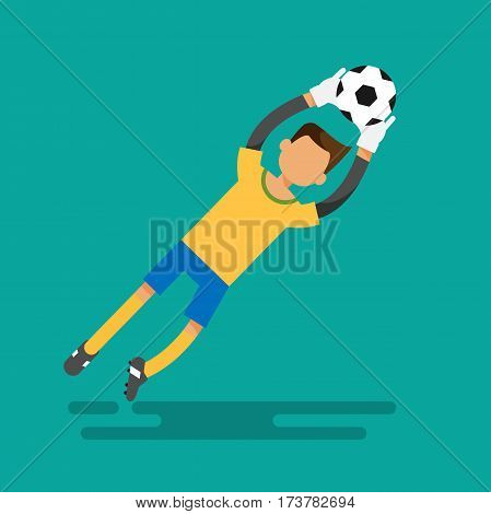 Goal keeper catches the ball. Football illustration flat design vector stock.