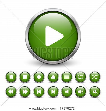 Set of green media player buttons with metal frame and shadow