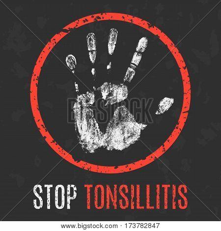 Conceptual vector illustration. Human sickness. Stop tonsillitis.