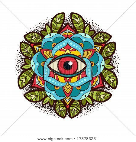 Beautiful ornamental peony, rose flower with an eye of providence. old school tattoo, print on postcards, T-shirts, packaging, smartphone cover, napkins, pillows. Alchemical Tarot Magic flower. Vector poster