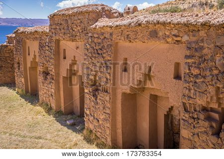 Detail of Inca ruins of Temple of the Virgins of the sun on Isla de la Luna, Lake Titicaca, Bolivia.