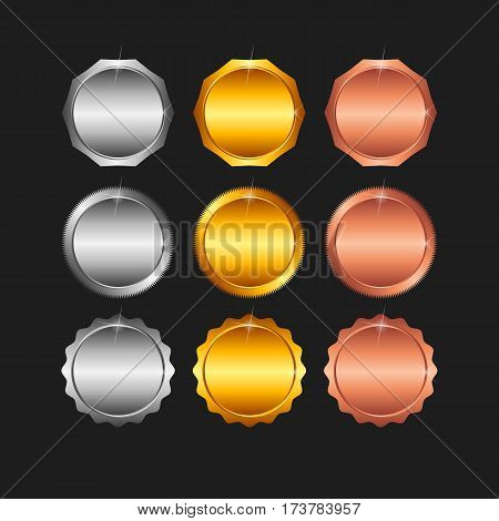 Vector set of blank stamps of gold, red gold, white gold, platinum, silver, bronze, copper, brass, aluminum, which can be used as icons, buttons coins medals