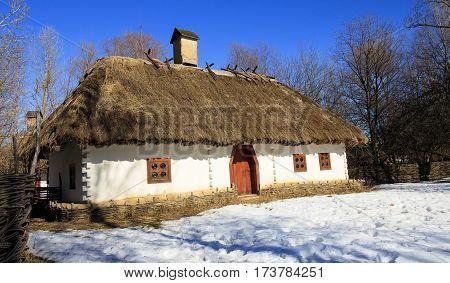 The old hut in Ukraine ethno museum.