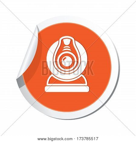 Orange sticker with web camera icon. Vector illustration